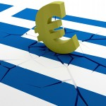 Euro symbol on greek crack flags background